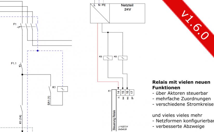 stromlaufplan.de: v1.6.0 veröffentlicht: Relais mit vielen neuen Funktionen, Netzformen in der Einspeisung und vieles weitere mehr